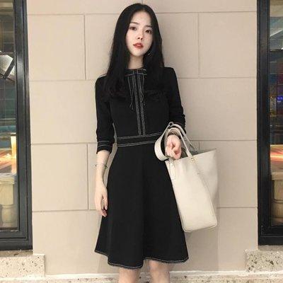 秋裝新款韓版女裝顯瘦港味復古裙子秋冬名媛小香風打底洋裝