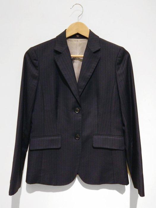 【二次時尚】*DAKS 英倫的經典奢侈品牌 真品*線條 藍色西裝外套