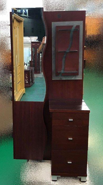 二手家具宏品 台中中古傢俱賣場 E11766*胡桃木化妝台 梳妝台 穿衣鏡* 2手臥室家具 租屋 套房家具 床組床墊拍賣