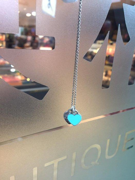 典精品名店 Tiffany & co. mini double heart tag pendant 雙愛心 項鍊 現貨