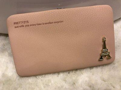 泰國帶回 多功能 粉紅 超可愛 巴黎 硬殼手拿包 軟皮 可放ipohne 7 PLUS 長皮夾 卡包 零錢包兼具 短夾