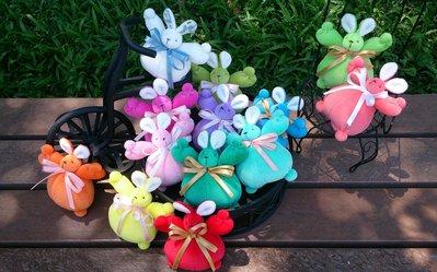 彩虹小兔娃娃布偶 : 兔子 娃娃 絨毛 嬰兒 彩色 裝飾 收藏 布偶 家飾