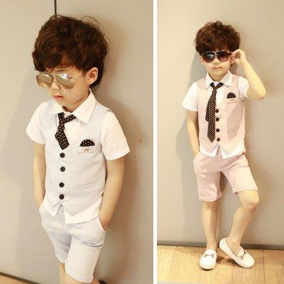 【衣Qbaby】男童禮服馬甲短褲花童音樂演出兒童禮服三件套(送領帶)