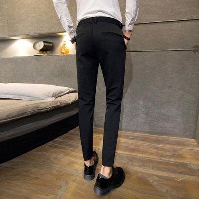 西裝褲春季褲子男韓版潮流九分褲男士西裝褲修身休閒西褲9分小腳褲黑色