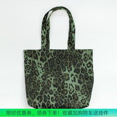 奇奇TEMPORARY 小眾獨立設計女包購物袋豹紋印花帆布包單肩包大容量