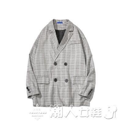 西裝外套@港仔文藝男秋季新款男士格子西裝外套韓版寬鬆潮流復古休閒上衣
