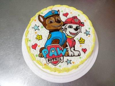 小妤兒烘焙坊--卡通生日蛋糕~八吋平面警犬.消防犬~@超帥氣@