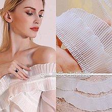 『ღIAsa 愛莎ღ手作雜貨』外銷款花邊輔料高品質奶白色雪紡褶邊拼布服裝輔料寬3.6cm