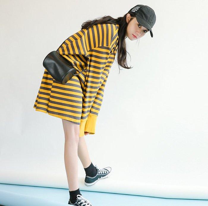 SeyeS  street雜誌款自然風條紋寬鬆洋裝