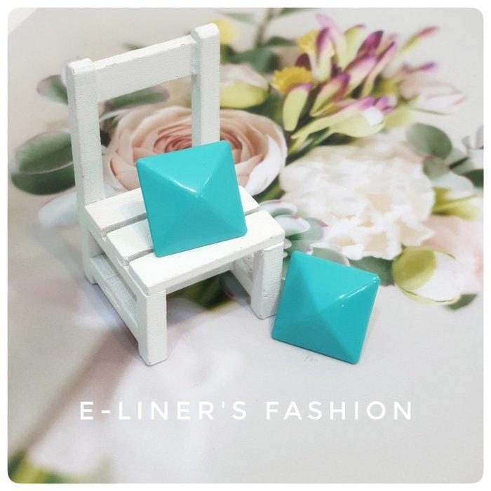 【E-L日裳森活】蒂芬妮藍方形耳環 耳針 簡約大方 復古流行 浪漫情人禮