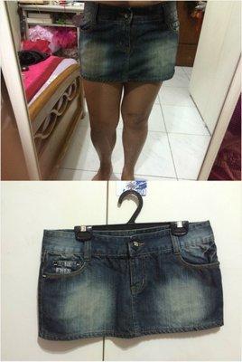 ❤夏莎shasa❤美系品牌2W JEANS深灰黑色刷白牛仔個性低腰短裙/1元起標