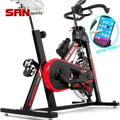 ⊙偷拍網⊙【SAN SPORTS】黑爵士18KG飛輪健身車C165-018(4倍強度.18公斤飛輪車.室內腳踏車)