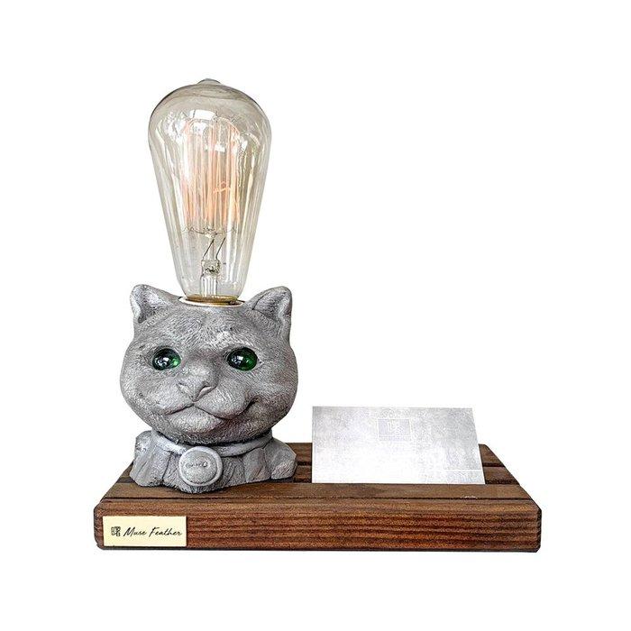 【曙muse】貓咪木底名片座桌燈  造型桌燈 名片座 質感 送禮 交換禮物 居家小物 開店擺飾 動物造型