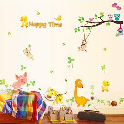創意壁貼-卡通快樂動物 MJ8019-991【AF01013-991】