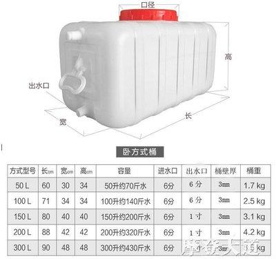 食品級大號塑料桶臥式儲水桶長方形100L水桶帶蓋300L水塔水箱QM