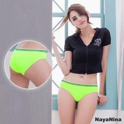 【Pretty Maid】玩色 撞色彩條無縫低腰內褲 S/M 螢光綠 NA14350010