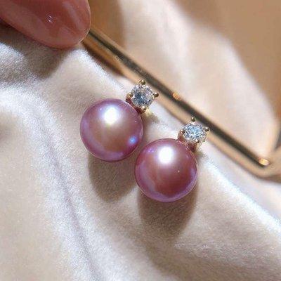 精緻life 大溪地粉紫珍珠耳環正圓強光耳墜純銀鍍18K金王妃款珍珠耳釘吊墜