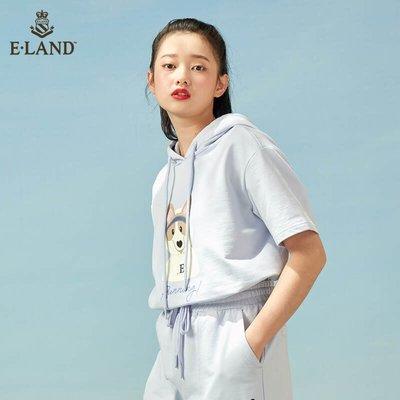 (次元周邊)ELAND衣戀2021春夏季新款寬松抽繩連帽白色短袖衛衣T恤女