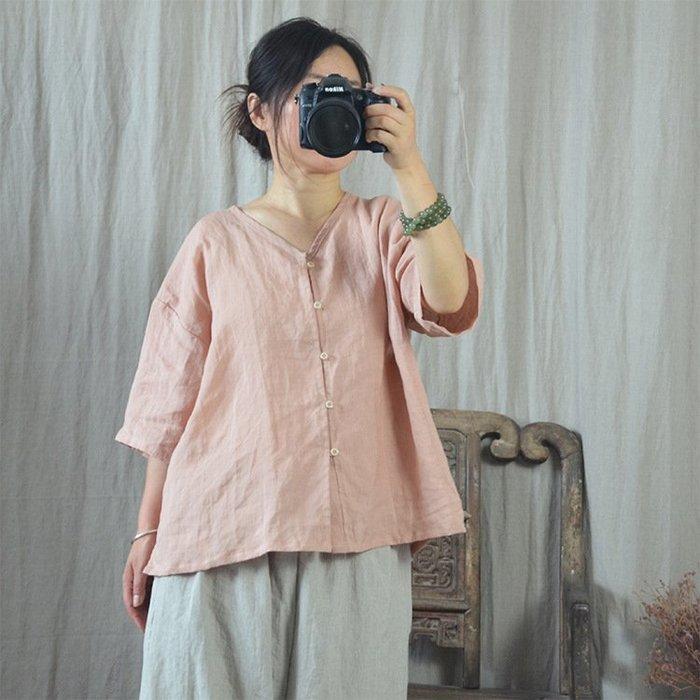 【子芸芳】棉麻襯衫原創文藝小開衫純苧麻七分袖寬鬆襯衫