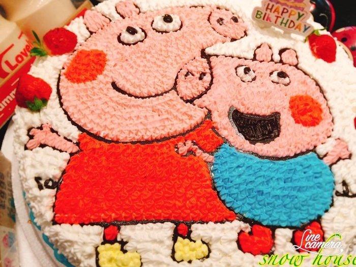 ❤ 歡迎自取 ❥ 雪屋麵包坊 ❥ 12 吋生日蛋糕 ❥ 佩佩豬和喬治 ❥❥ 送生日快樂彩色蠟燭唷