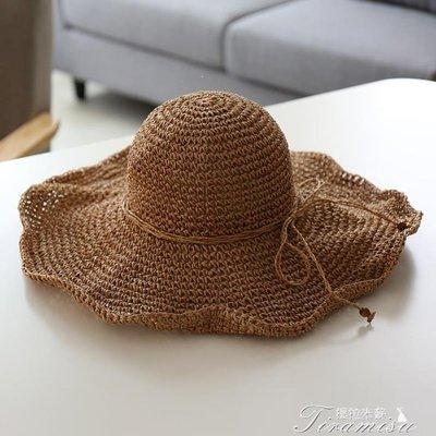 ZIHOPE 大檐手工編織度假沙灘帽海邊旅游度假可折疊大沿草帽防曬遮陽帽子ZI812
