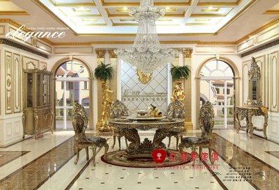 [紅蘋果傢俱] F115L 洛克思瑞系列 新古典 法式 歐式 奢華圓餐桌 餐桌 飯桌 餐椅
