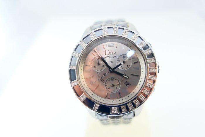 [吉宏精品交流中心]Christian Dior 迪奧 CD 38mm 原鑲鑽石 石英 計時碼錶(盒卡全)