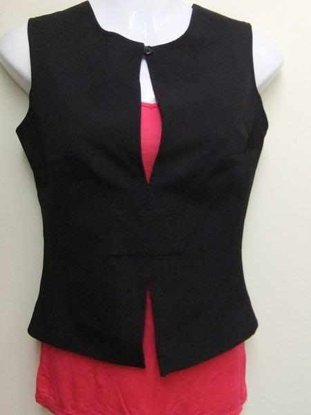 專櫃VAST!鴿子品牌 極簡黑色修身西裝布料上下開岔造型背心