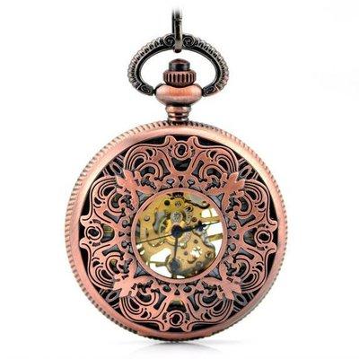 古典雕花 紅古銅中空 機械懷表 復古 鏈 時尚男女士禮品手表