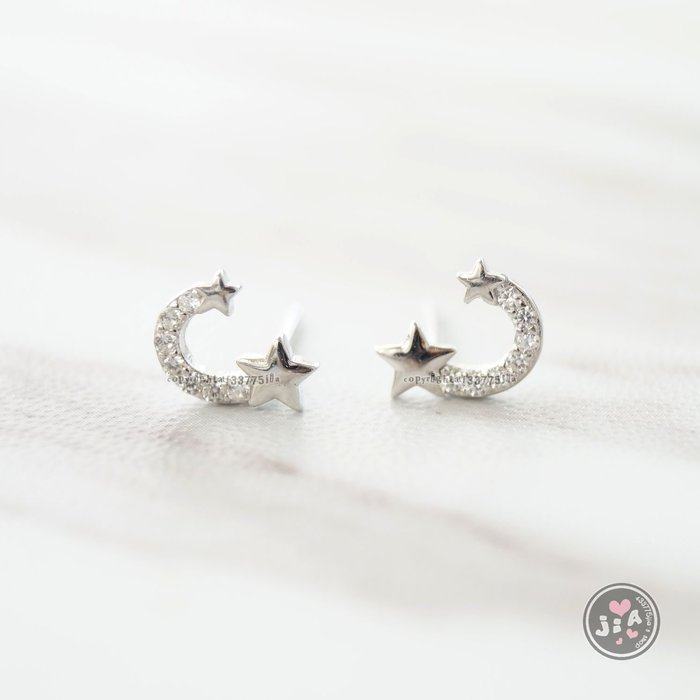 【Jia' s】U形微笑排鑽鋯石雙星星純銀耳環耳針S925。正生純銀