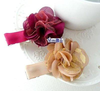 ~Mimi飾品~ 浪漫甜美~典雅 春天多層蕾絲花朵~髮夾 鴨夾 瀏海夾 壓夾~120元