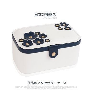 【優上】櫻花首飾盒首飾收納盒多層飾品盒皮革多功能珠寶盒「櫻花白色」