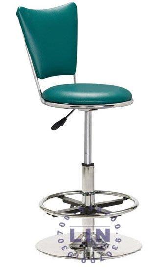 【品特優家具倉儲】R919-11吧台椅高腳洽談椅019電鍍圓盤雙圈吧台椅