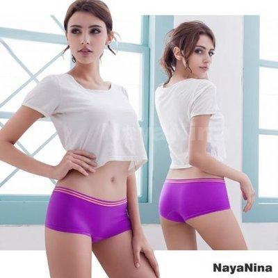 【Pretty Maid】玩色 撞色彩條無縫低腰平口褲 S/M 紫 NA14350002