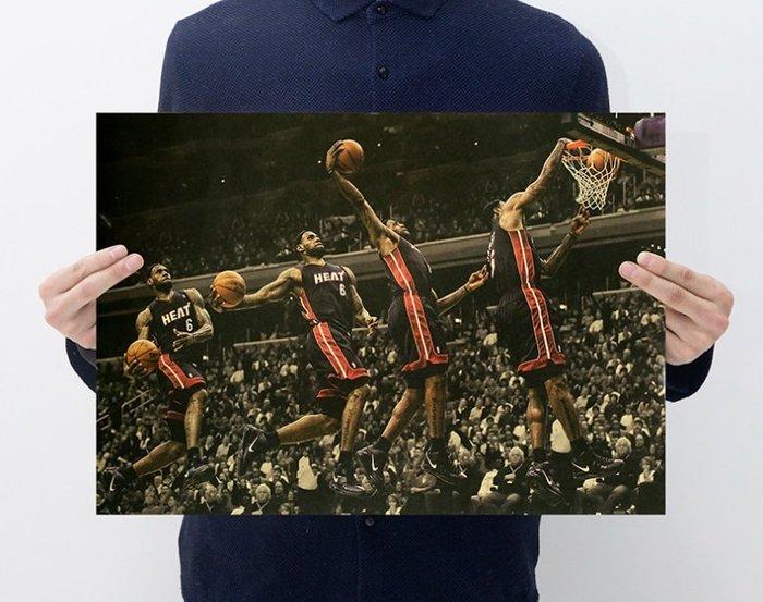 【貼貼屋】NBA  雷霸龍 詹姆士 LBJ  LeBron James  騎士 籃球 懷舊復古 牛皮紙 海報 壁貼 5