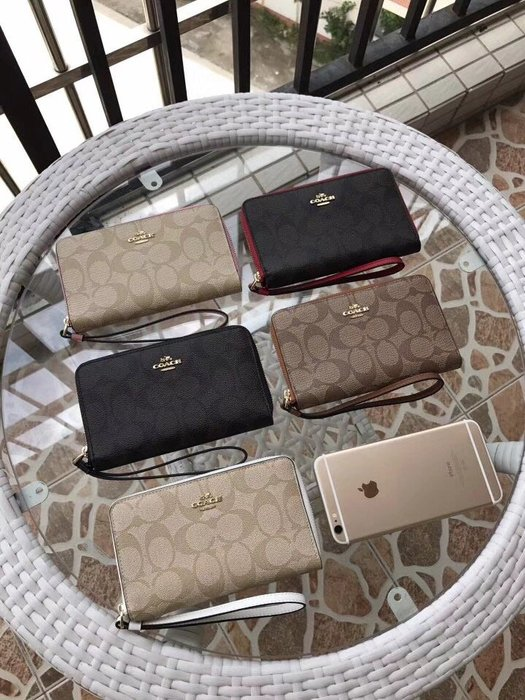 NaNa代購 COACH 57468 新款手拿包 拉鏈零錢包 可放手機 隔層多 手腕手包 附購證 買即送禮