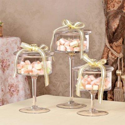 (三件套組)唯美歐式高腳玻璃甜點盤/罐+蓋 糖果 生日派對 婚禮佈置 主題 週歲 甜點 居家擺飾 baby shower