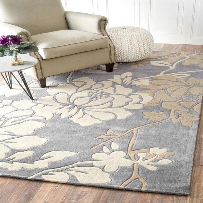 純手工?綸地毯圖案客廳歐式臥室長方形簡約床前防滑可定做
