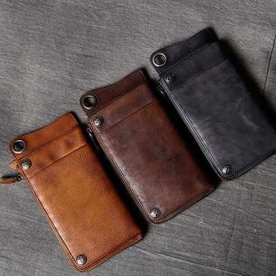 長夾真皮錢包-多功能多卡位復古牛皮男女皮夾3色73vp32[獨家進口][米蘭精品]