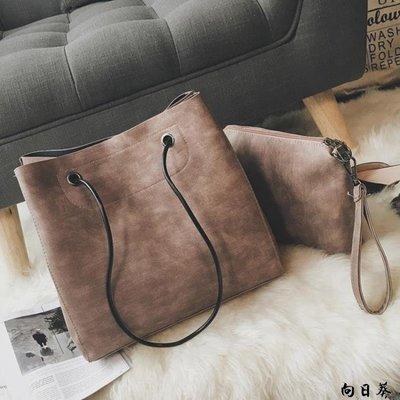 手提包 側背包 女包新款子母包水桶單肩包大包包簡約休閒手提包大容量斜挎包