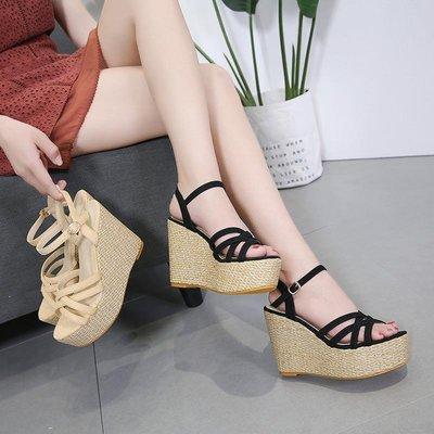 綁帶涼鞋女夏亞麻草編厚底性感復古坡跟系帶高跟防水臺松糕鞋