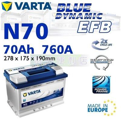 [電池便利店]德國華達 VARTA EFB N70 L3 70Ah 歐洲製造 啟停專用電池 取代E45