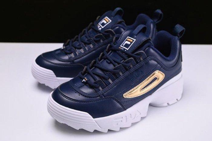 [Reon羅恩代購] FILA Disruptor II 中性厚底增高個性鋸齒鞋 老爹鞋 藍金白