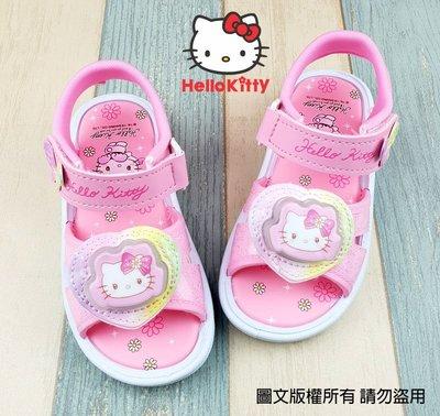 【琪琪的店】三麗鷗 HELLO KITTY 凱蒂貓 女童 童鞋 休閒 涼鞋 輕便鞋 會亮燈 台灣製 粉紅 819222