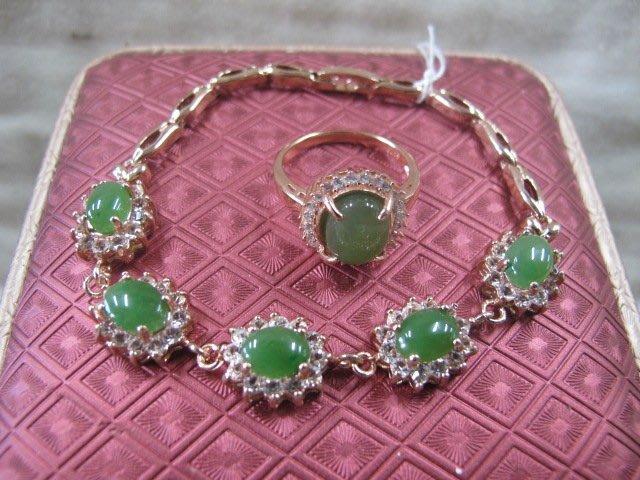二手舖 NO.739 (天然翡翠A貨) 純銀925 玫瑰金 滿綠 鑲鑽 翡翠手鍊+戒指 飾品 原價打75折
