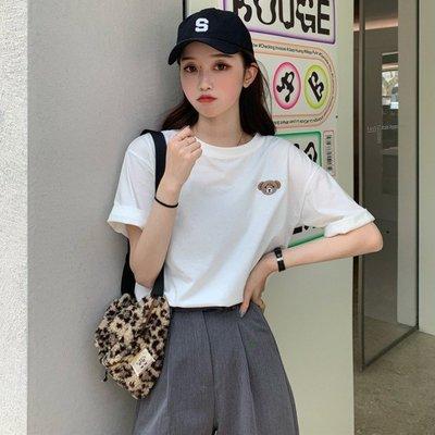 小香風 短袖T恤 時尚穿搭 韓版 寬松BF風超火的小熊刺繡網紅ins打底短袖T恤女裝