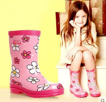 好雨時節 環保橡膠卡通花朵女童兒童雨鞋 雨靴夏款清新花朵雨鞋