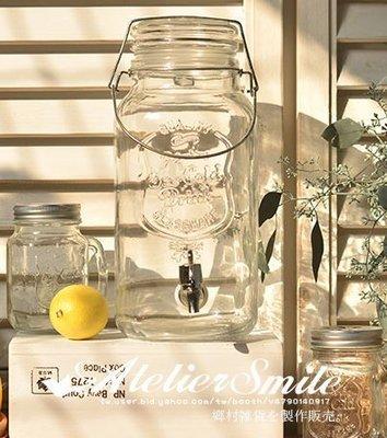 [ Atelier Smile ] 鄉村雜貨 美式復古 彈扣款 玻璃冰桶 酒桶 飲料桶 4公升+特製鐵架+不鏽鋼水龍頭