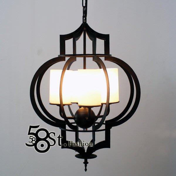 【58街】義大利設計師款式「鐵燈籠吊燈」複刻版。GH-415
