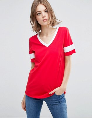 ASOS Longline T-Shirt With V-Neck And Grosgrain Insert